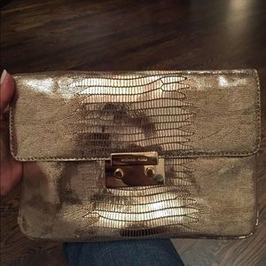 MK Sloan Lizard Metallic Gold Clutch with Chain